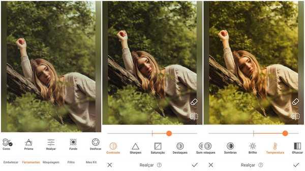 Foto de uma garota deitada com uma floresta ao fundo sendo editada no app AirBrush