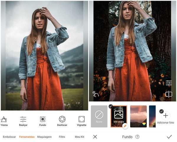 Foto de uma garota de vestido vermelho e jaqueta jeans sendo editada no app AirBrush