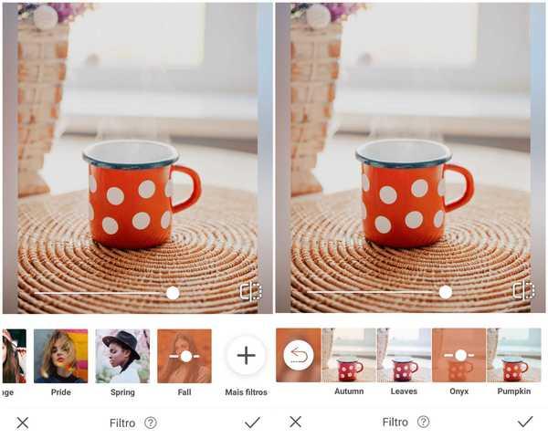Foto de uma caneca vermelha com bolinhas brancas sendo editada no app AirBrush