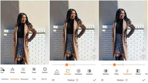 Foto de uma garota negra usando um casaco bege e saia xadrez sendo editada no app AirBrush