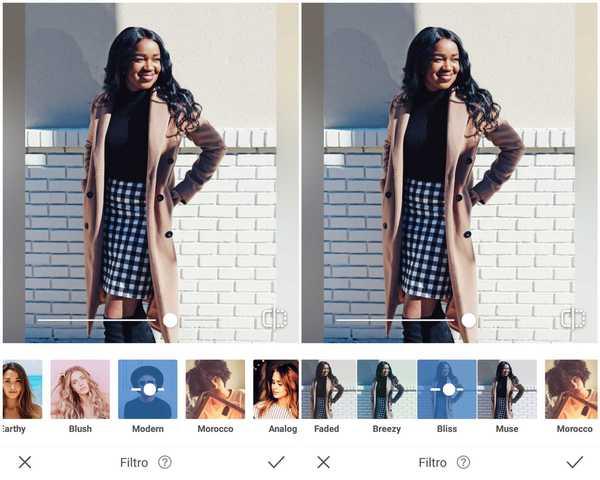 Foto de uma garota negra usando um blazer bege e saia xadrez sendo editada no app AirBrush