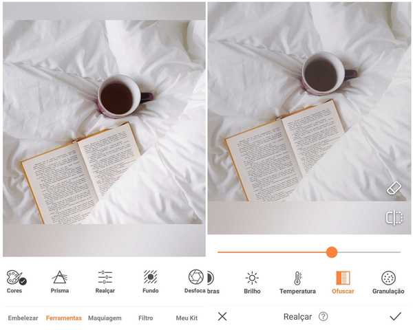 Foto de um livro aberto em cima de lençóis brancos ao lado de uma xícara de café sendo editada no app AirBrush