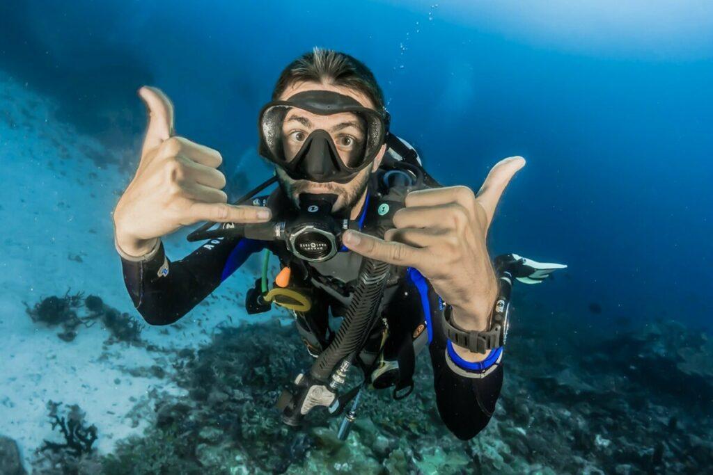 Photobomb fail edit with scuba diver underwater