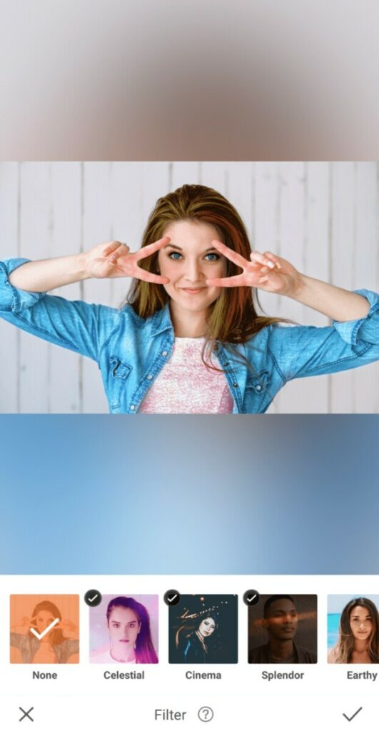 Sailor Moon edit with woman wearing chambray shirt making the peace sign over her eyes