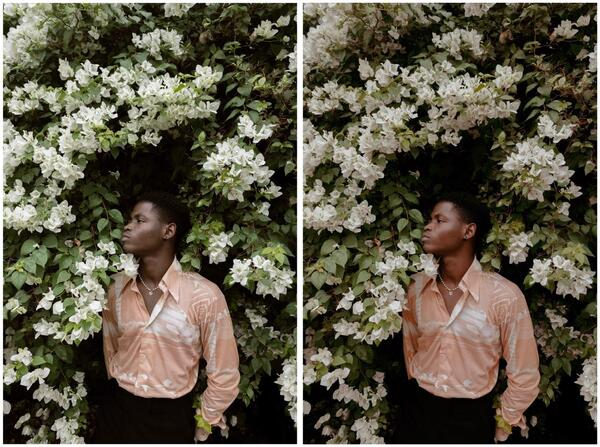 homem negro com plantas e flores em volta
