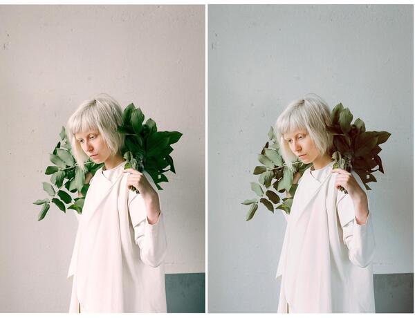 Mulher branca com plantas no ombro