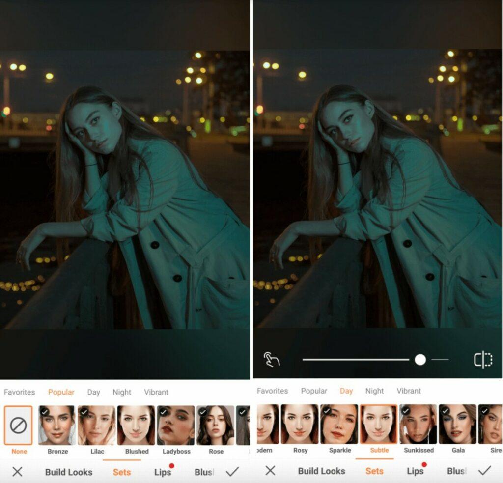 Nighttime photo edit using makeup filter