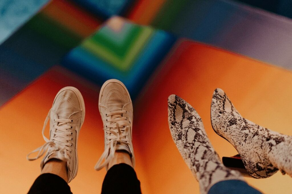 funky shoes in front of a colorful background