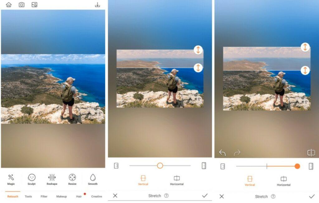 Travel photos editing using Stretch tool