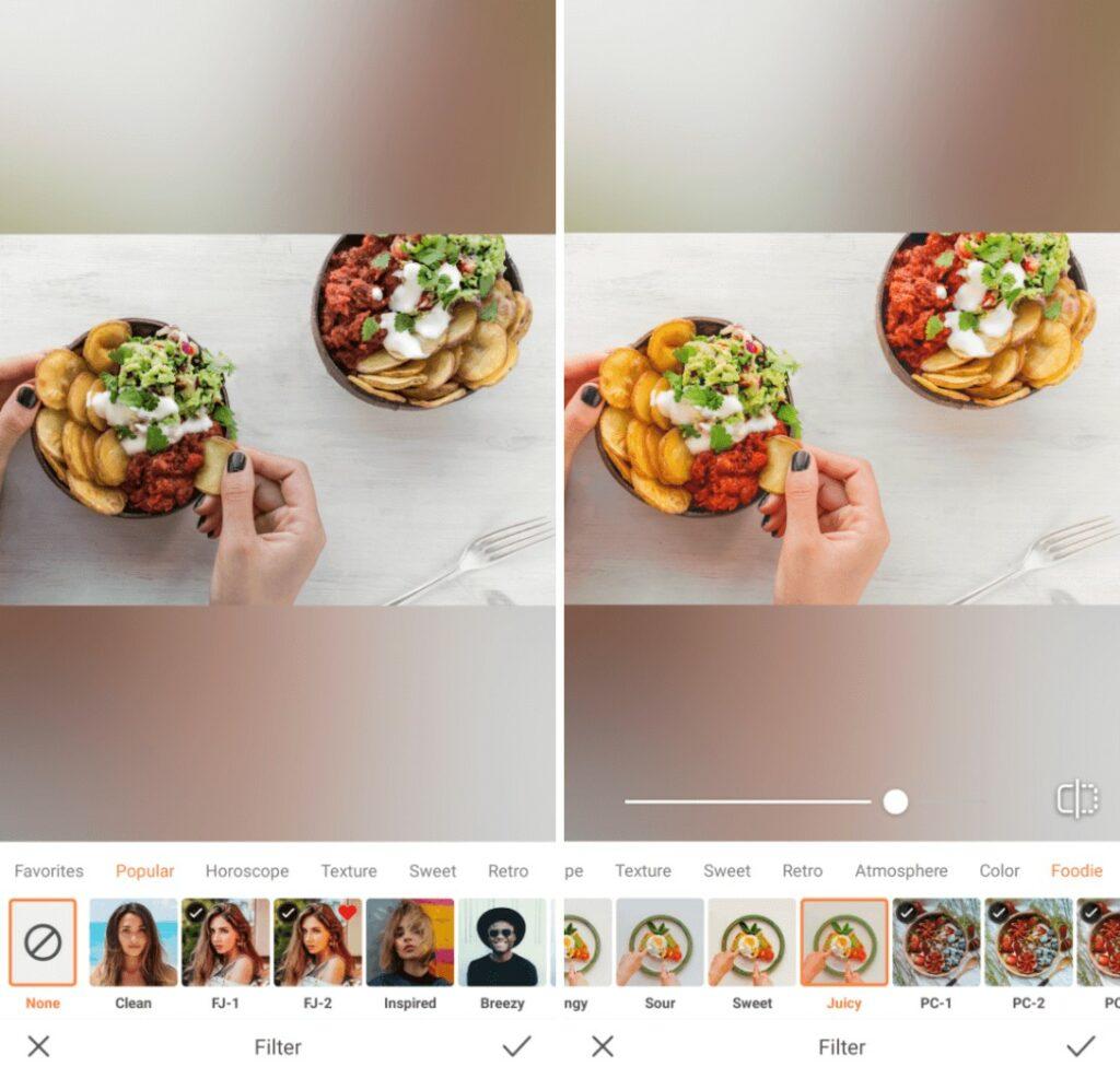 Foodie edit with Juicy filter