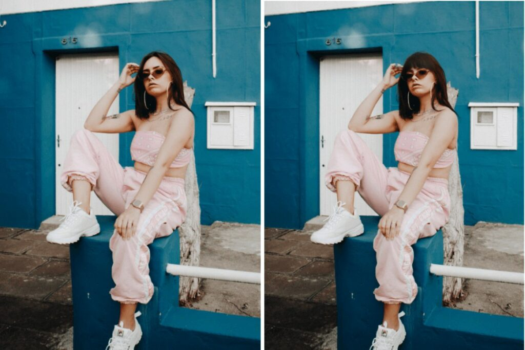 woman in pink track suit and sunglasses