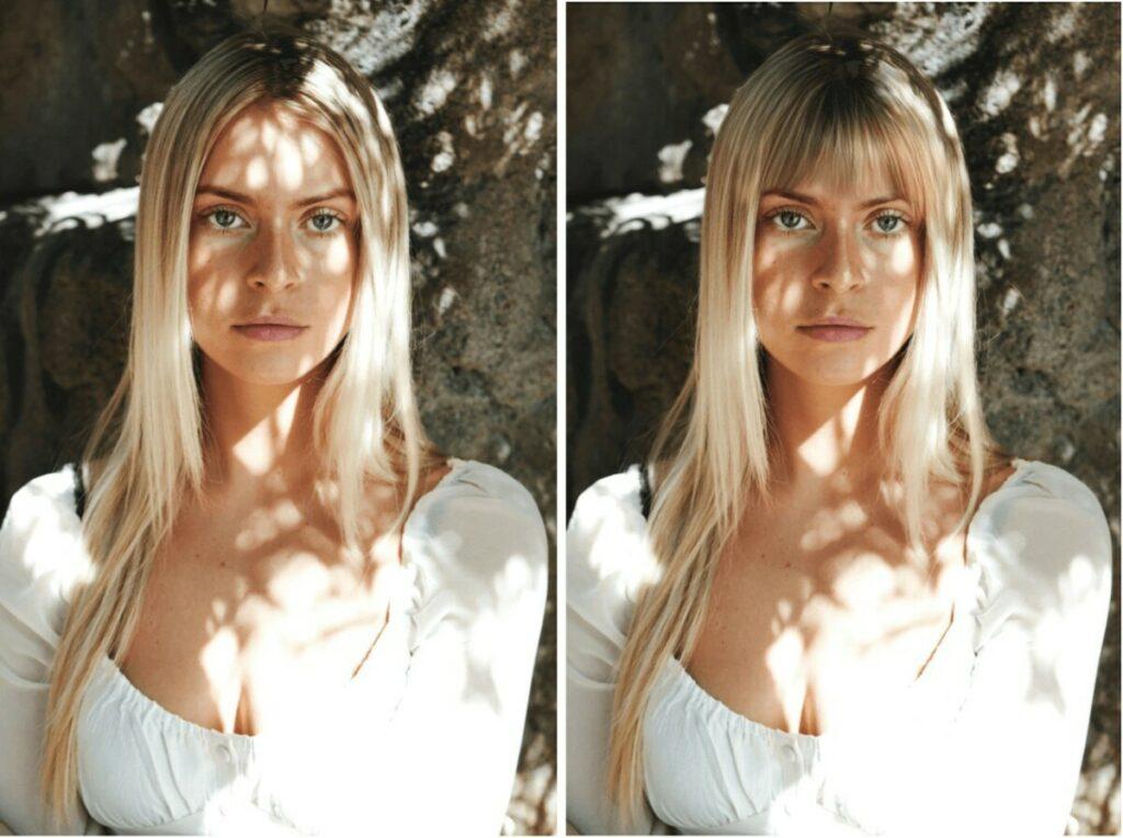 blonde woman with long bob bangs