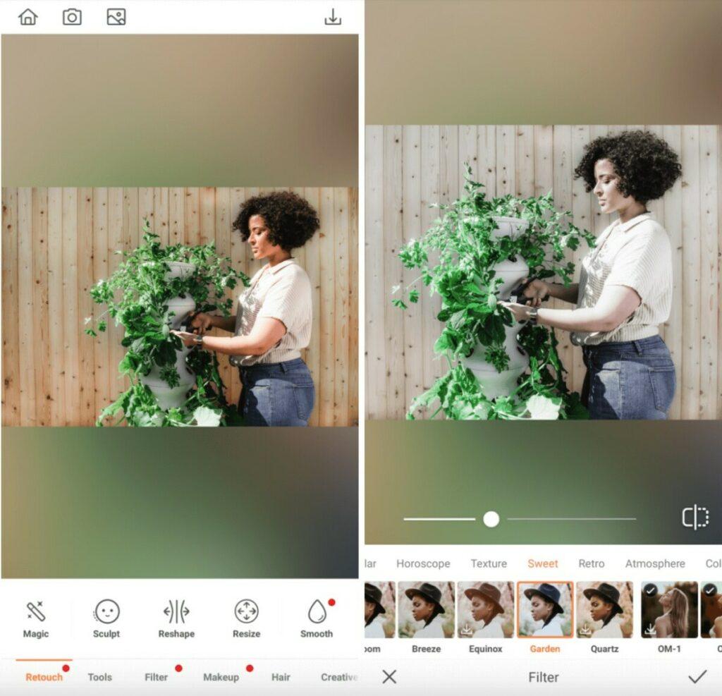 woman tending her plants