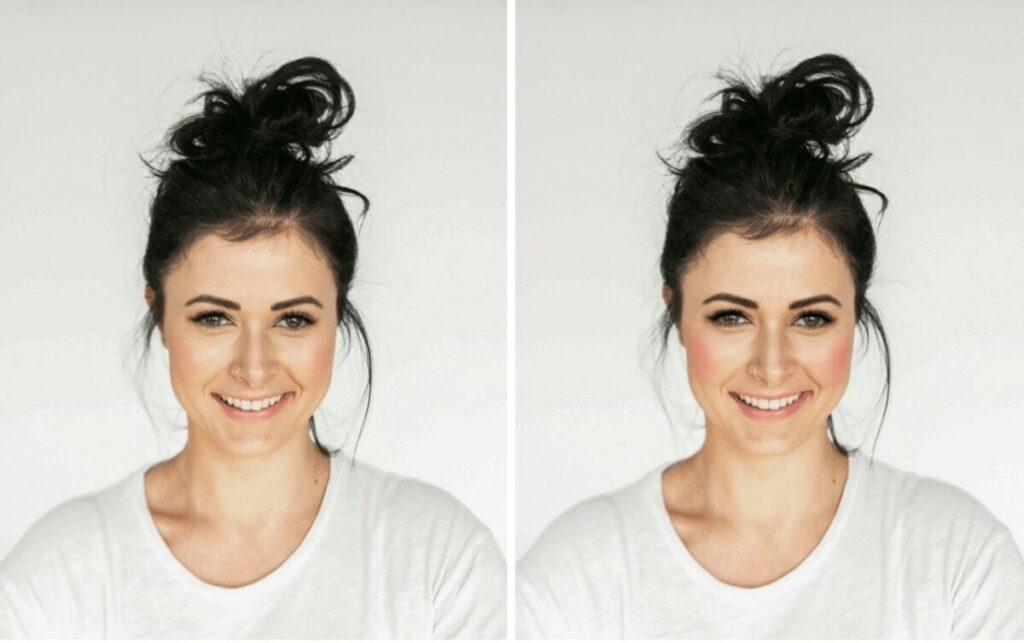 smiling woman wearing white t-shirt and Blushed makeup filter