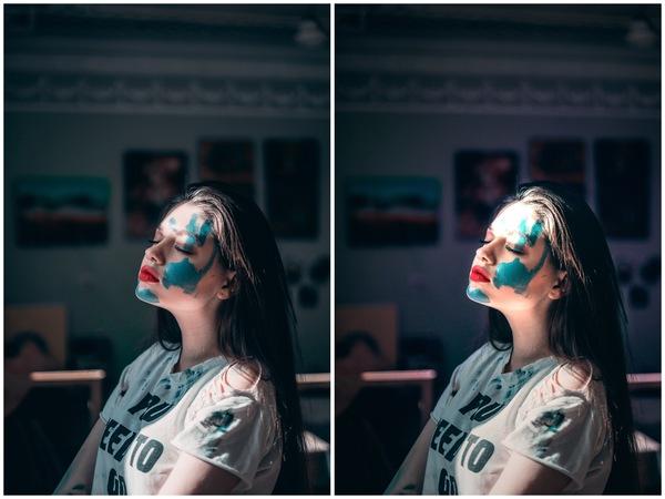 Montagem de duas fotos com uma mulher com tinta no rosto