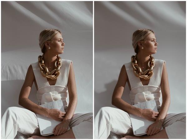 Montagem de duas fotos de uma mulher sentada