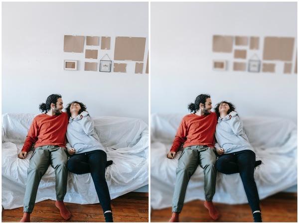 Montagem de duas fotos de um casal sentados e se abraçando