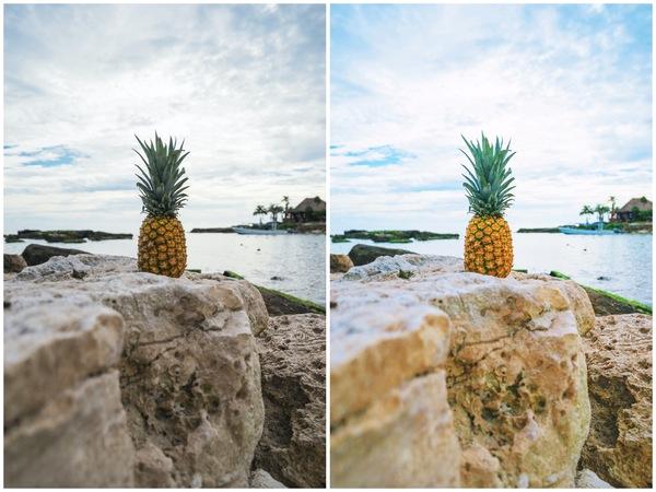 Montagem de duas fotos de um abacaxi com o mar ao fundo
