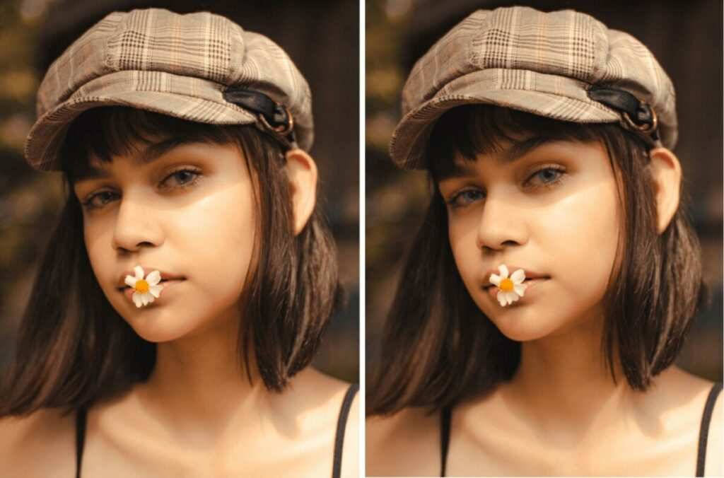 women wearing plaid hat with a flower in her mouth