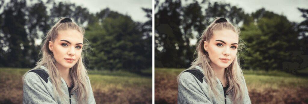Blonde woman sitting in a field