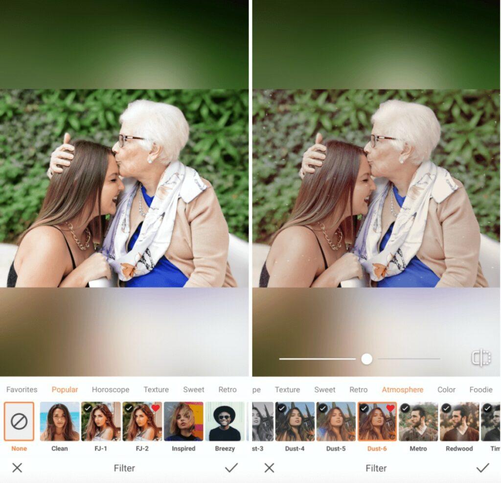 Grandmother kisses granddaughter on her forehead