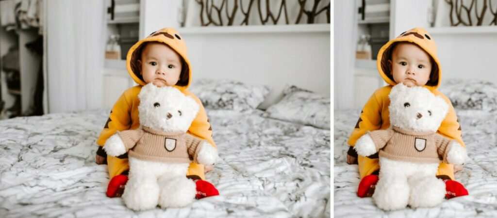 toddler sitting on a bed in a chicken costume