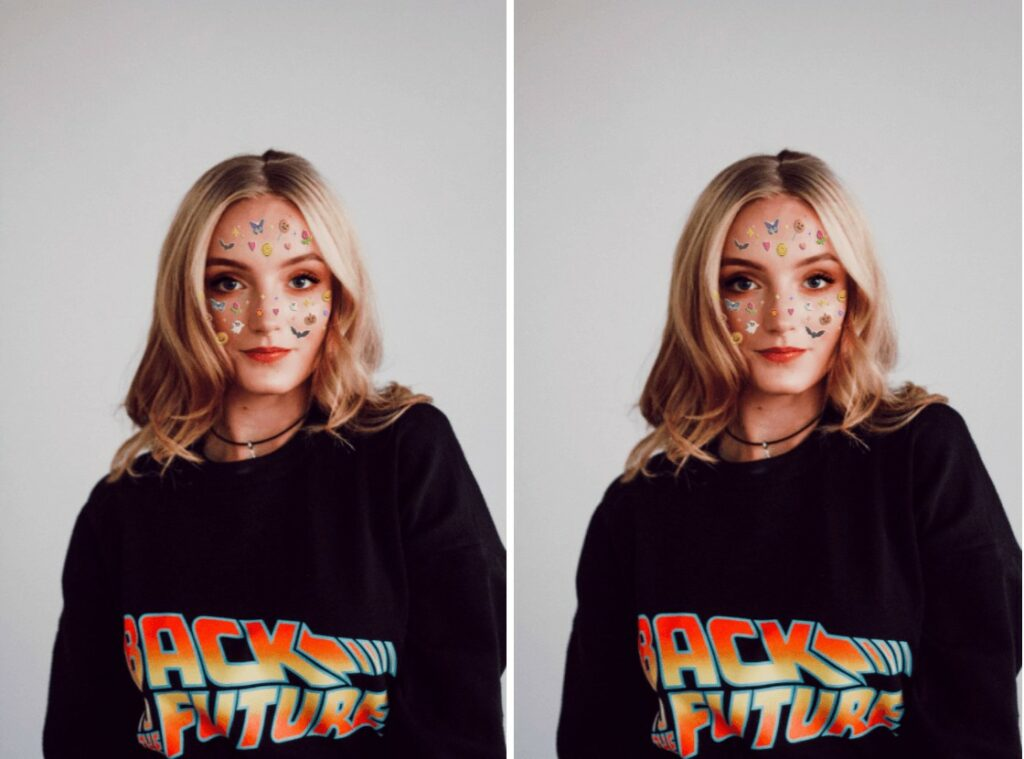 blonde woman wearing a black hoodie and Stickers makeup
